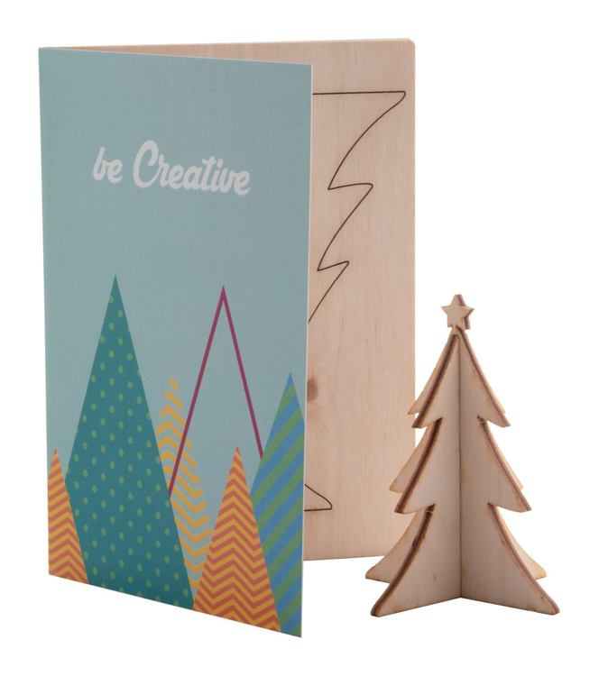 Christmas card Custom made made with wooden Christmas figures